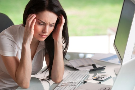 Stressed woman needs work-life balance