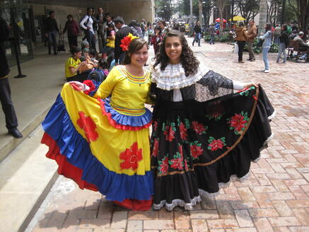 Colombians in traditional dress