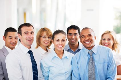 Seven happy employees