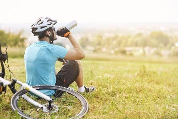 Cyclist takes a bike break copy